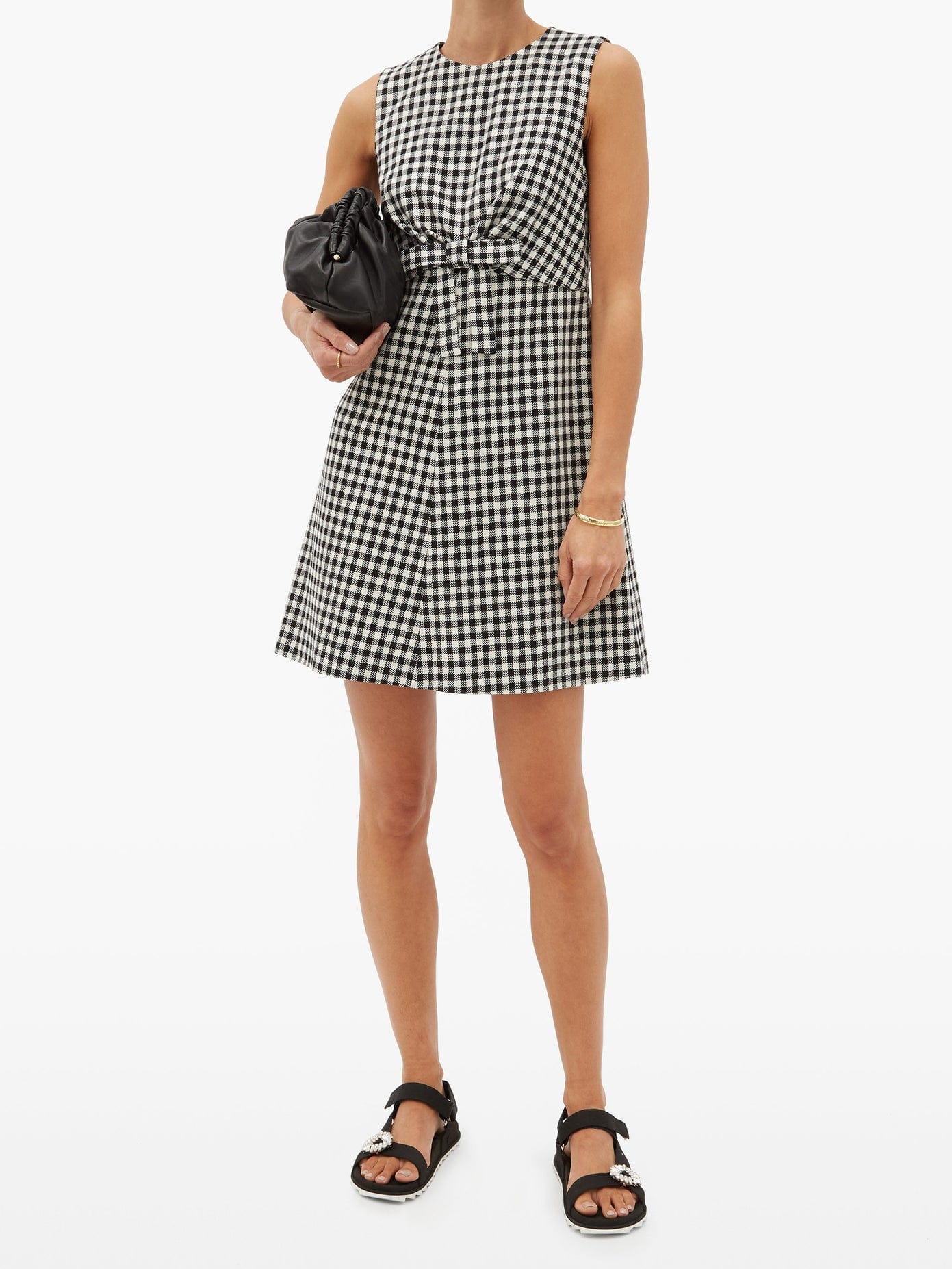 REDVALENTINO Bow-waist Houndstooth Mini Dress