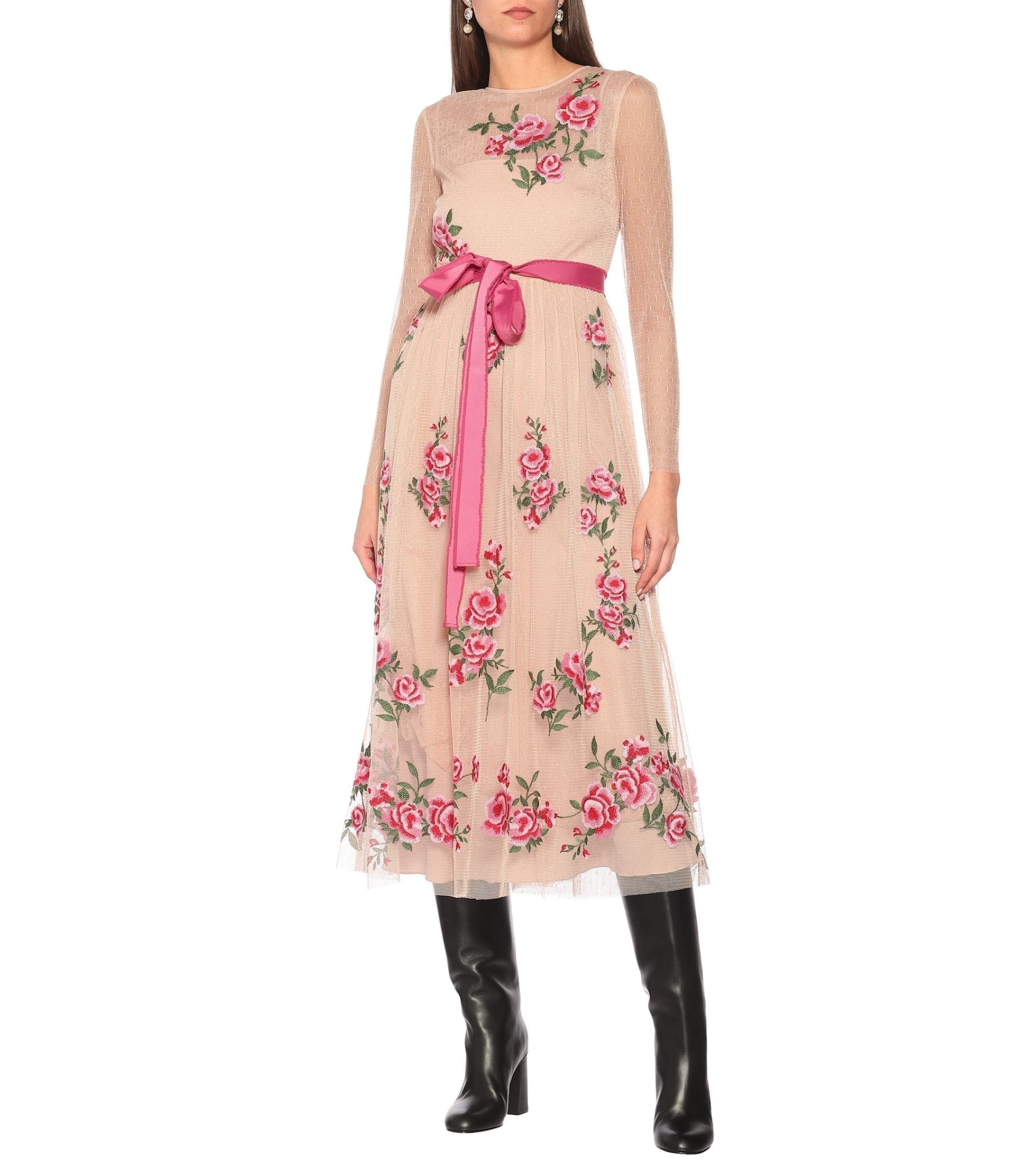 REDVALENTINO Floral Midi Dress