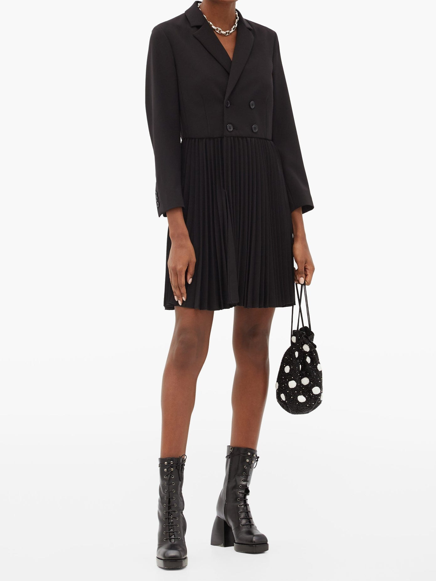 REDVALENTINO Pleated Double-breasted Blazer Dress
