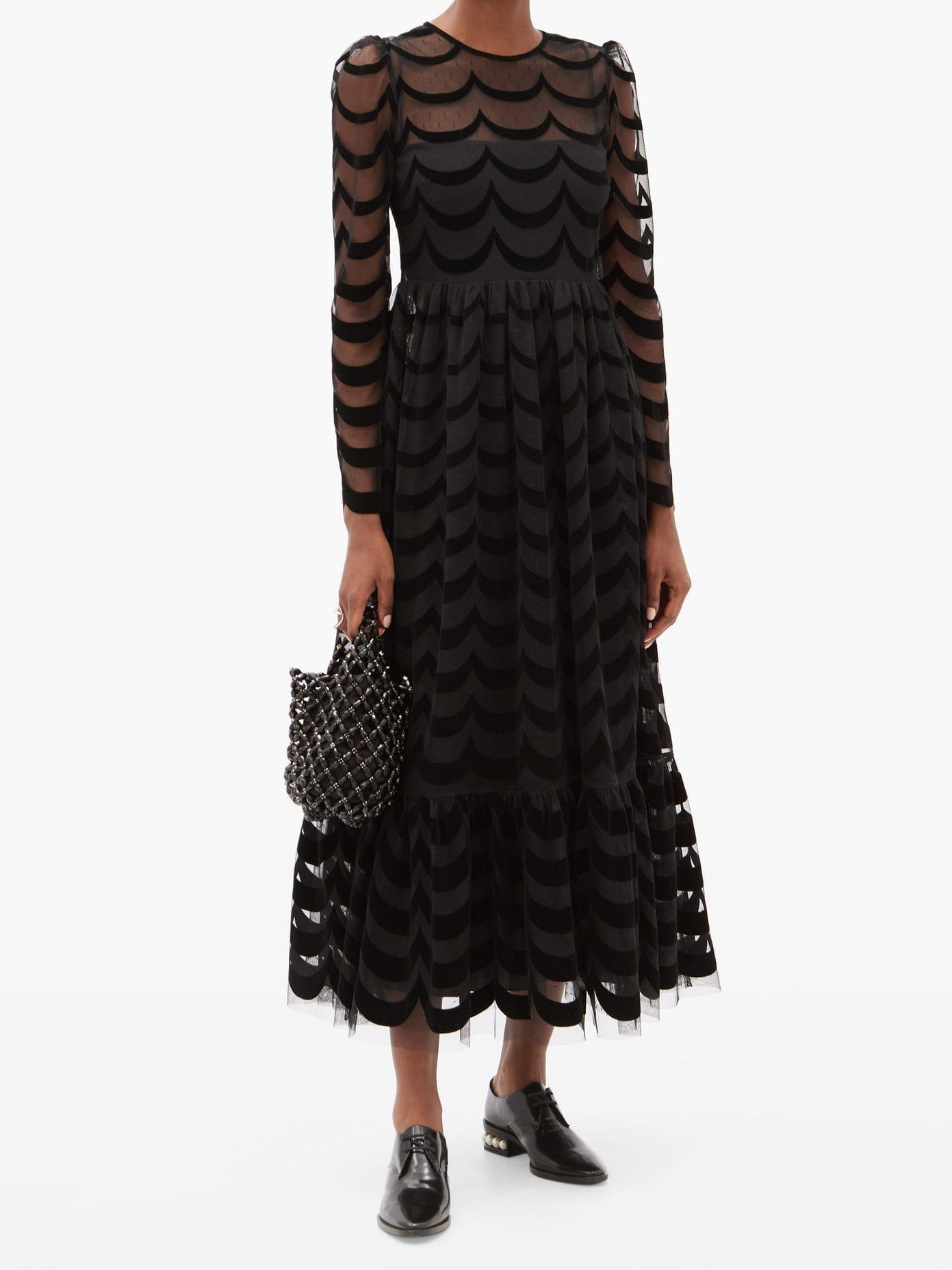 REDVALENTINO Scallop-flocked Swiss-dot Tulle Dress