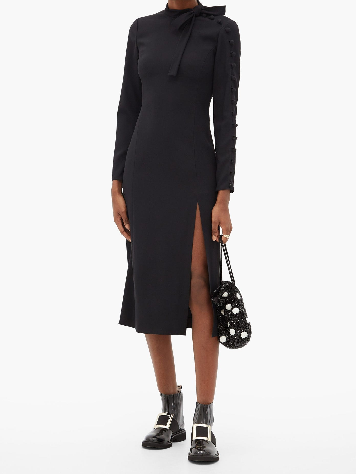 REDVALENTINO Tie-neck Crepe Midi Dress