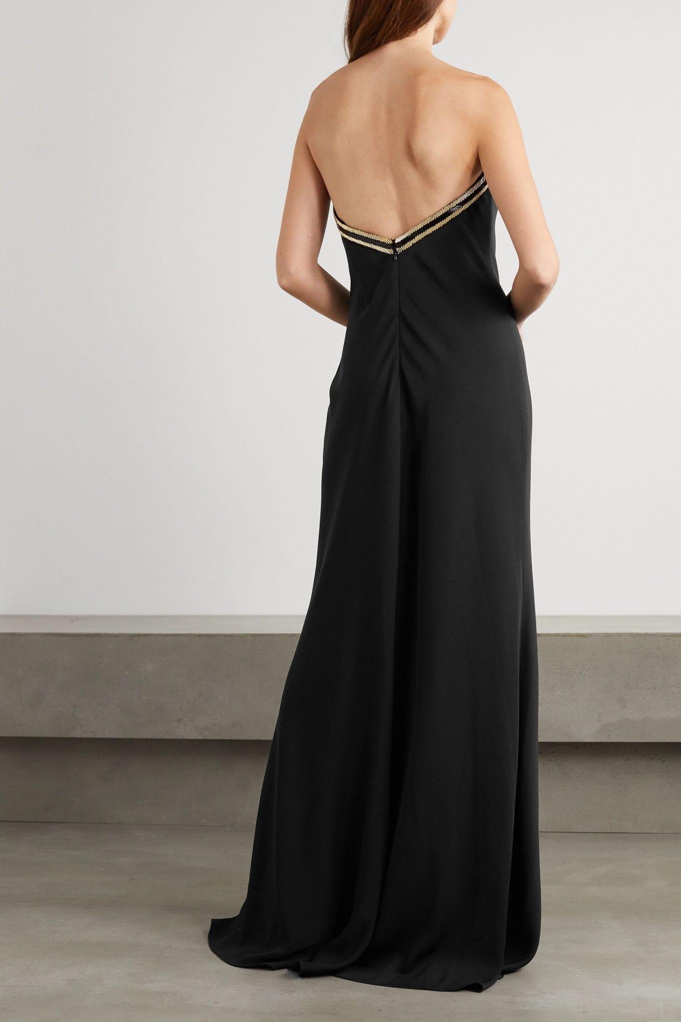 REEM ACRA Strapless Beaded Crepe Gown