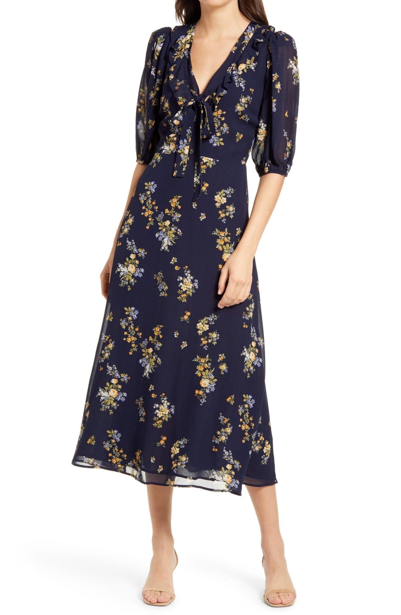 REFORMATION Brook Floral Print Tie Neck Dress