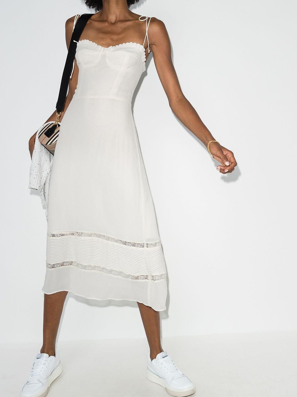 REFORMATION Ronan Lace Trim Midi Dress