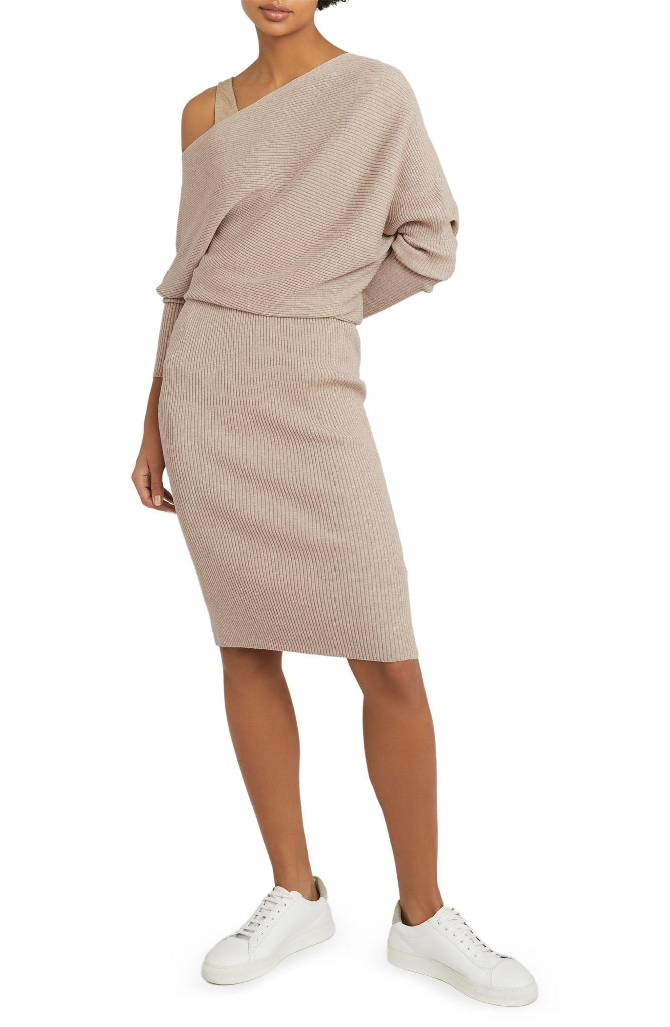 REISS Lara One-Shoulder Long Sleeve Sweater Dress