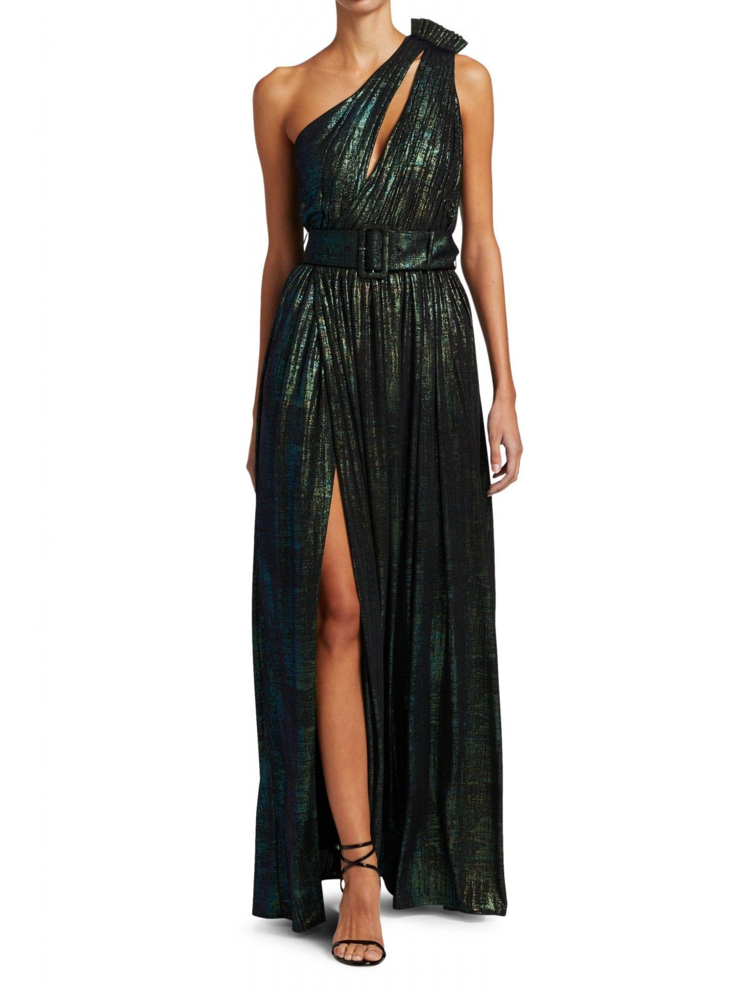 RETROFÊTE Andrea One-Shoulder Metallic Pleated Column Dress