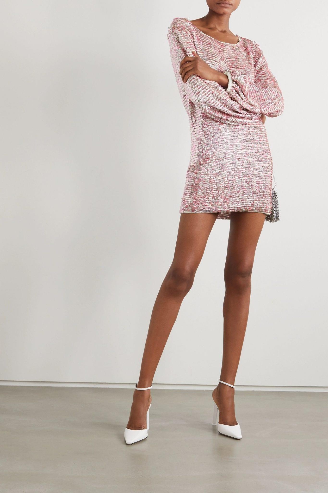 RETROFÊTE Tara Open-back Sequined Crocheted Cotton Mini Dress