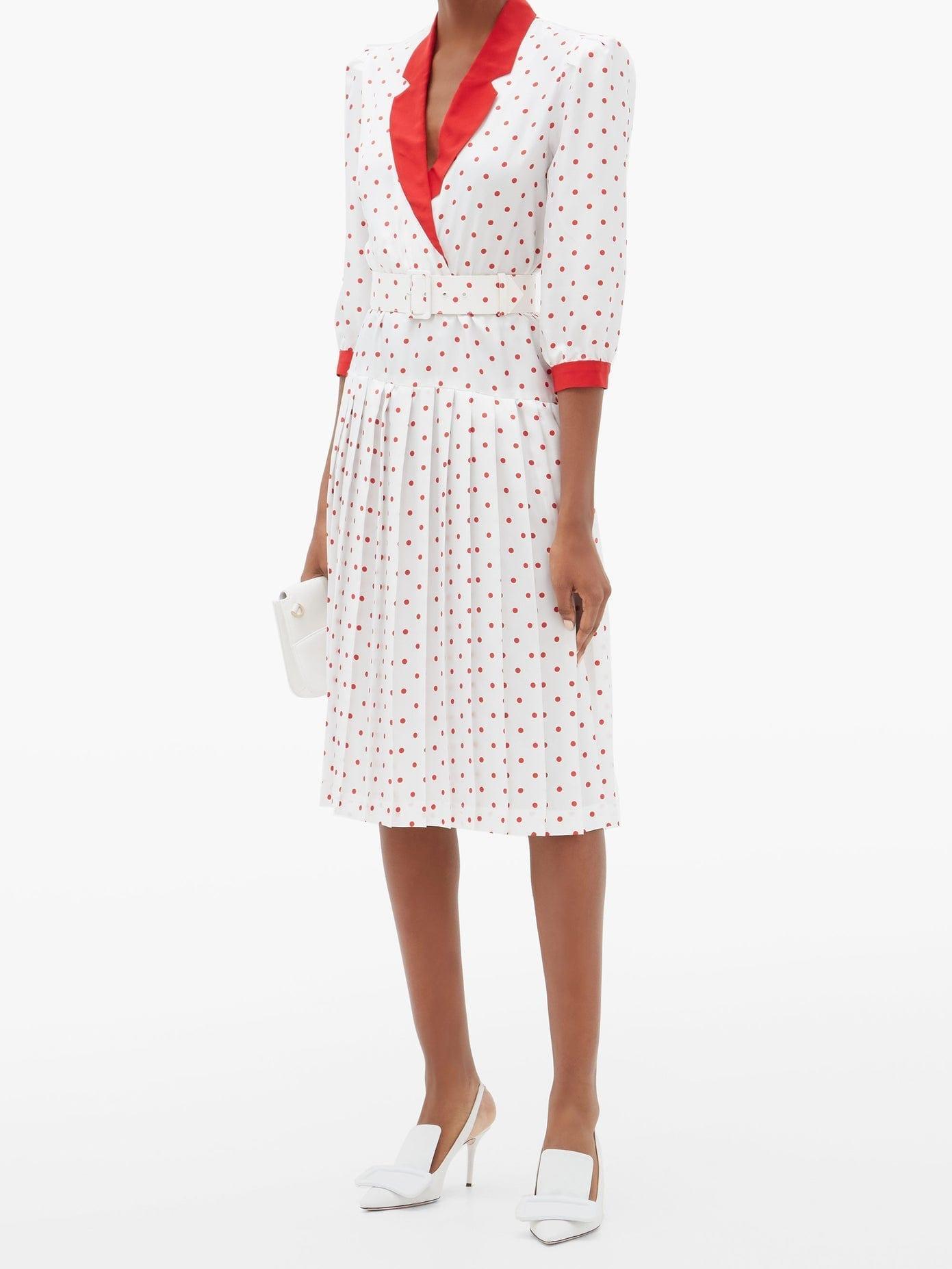 RODARTE Belted Polka-dot Silk-satin Dress