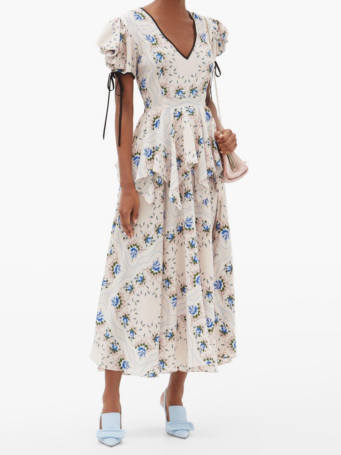 RODARTE Puff-sleeve Floral-print Silk-blend Crepe Dress