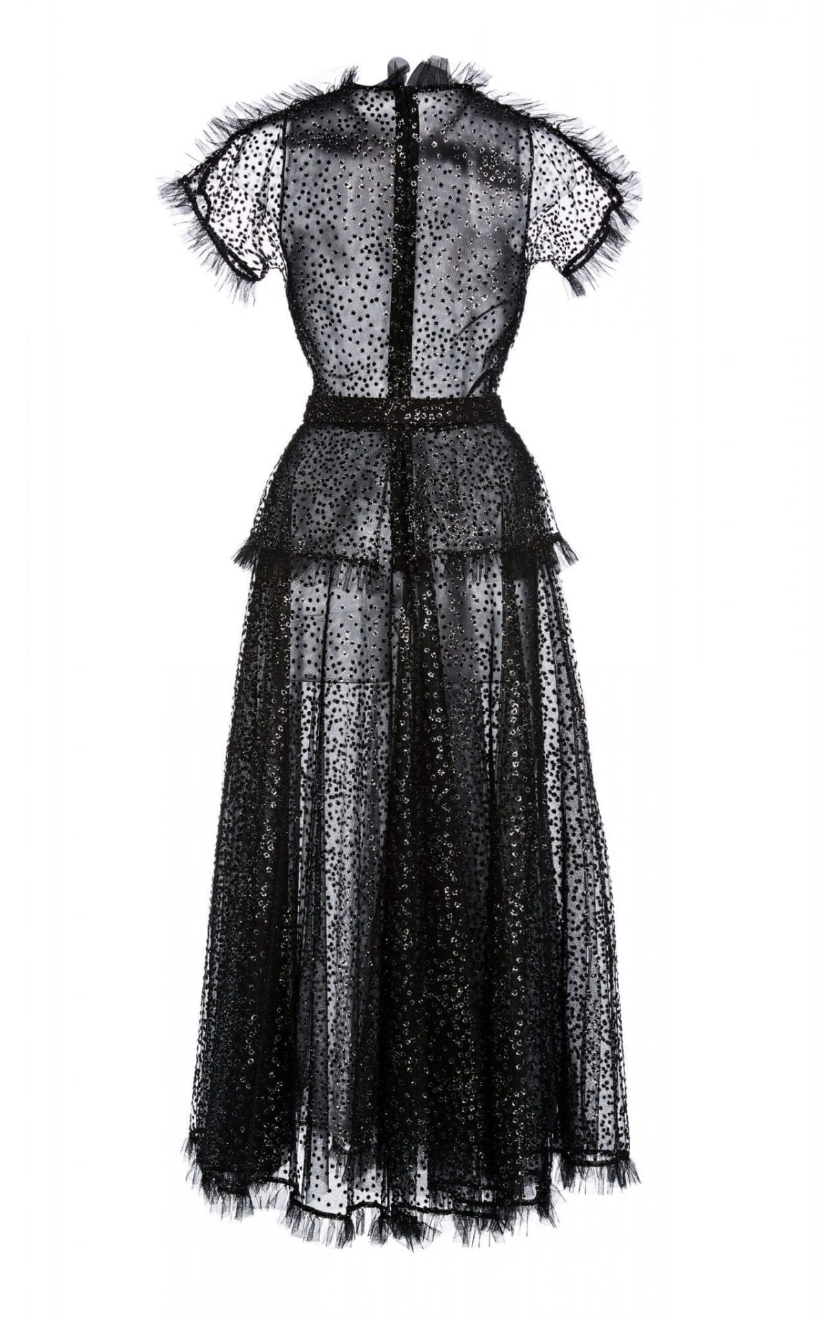 RODARTE Ruffle-Trimmed Glittered Tulle Maxi Dress