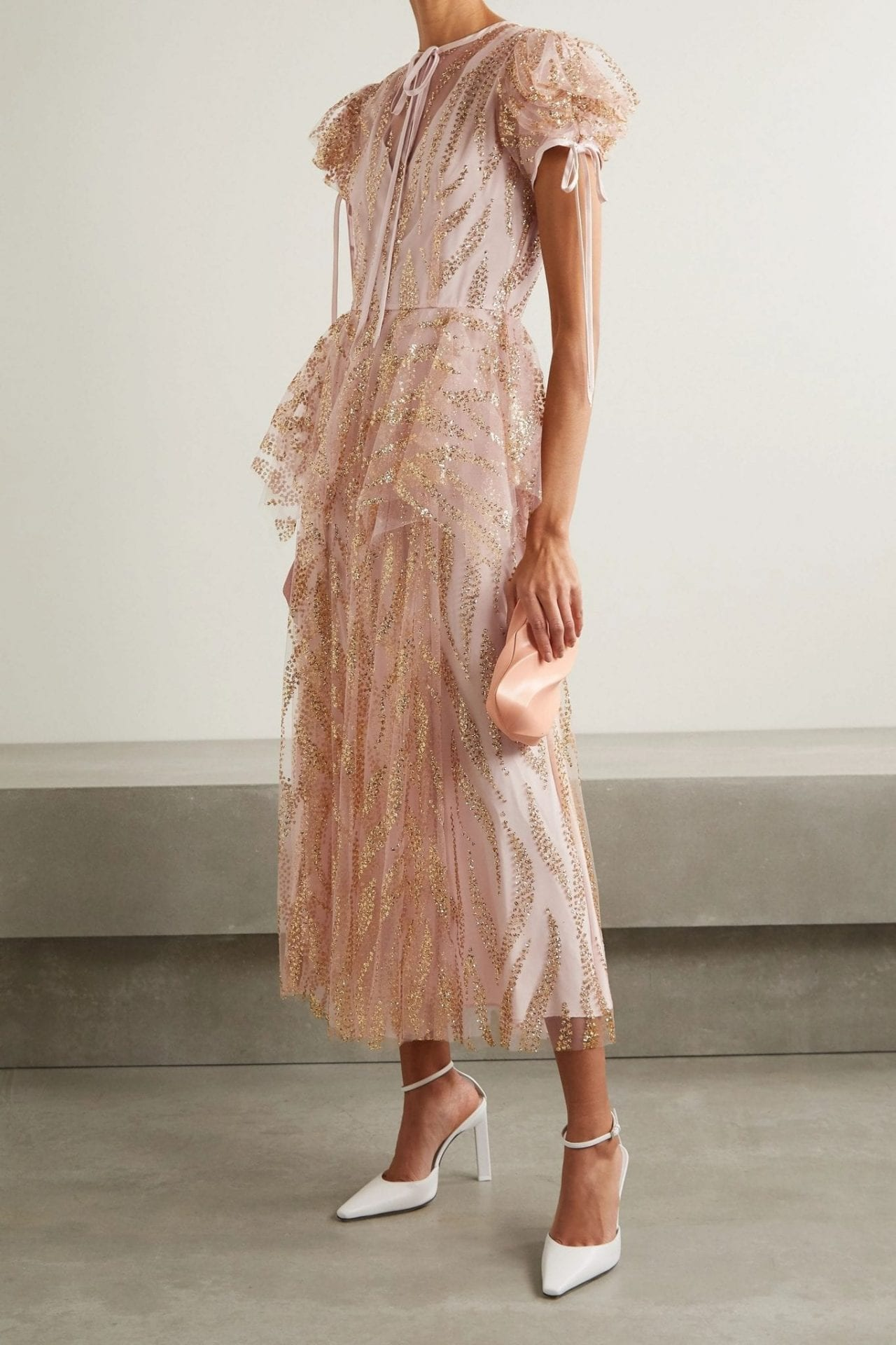 RODARTE Satin-trimmed Glittered Tulle Midi Dress