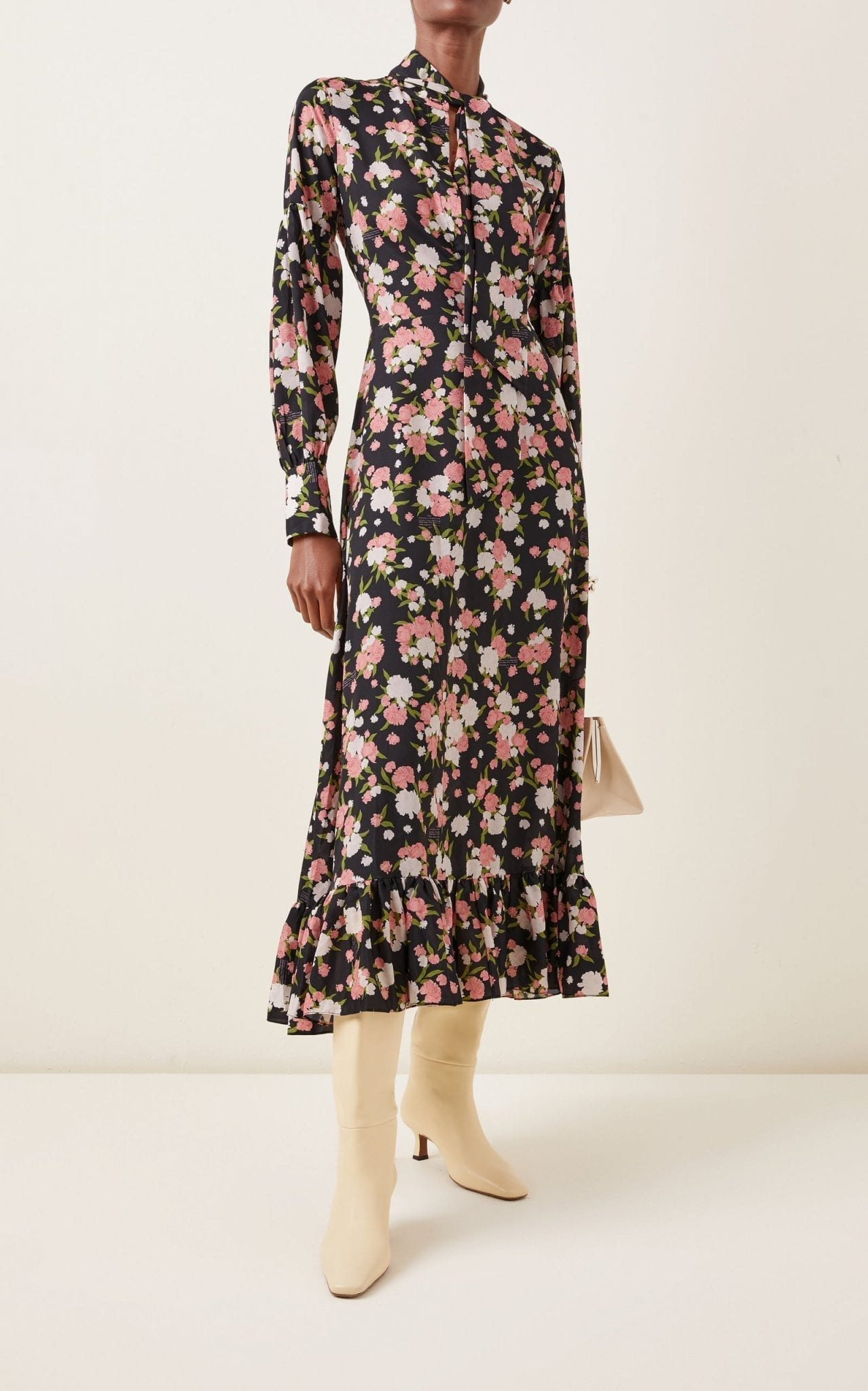 ROKH Ruffled Floral Crepe Tie-Neck Midi Dress