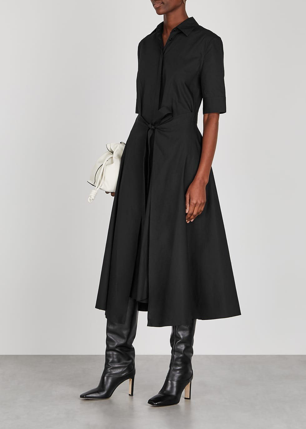 ROSETTA GETTY Black Poplin Shirt Dress