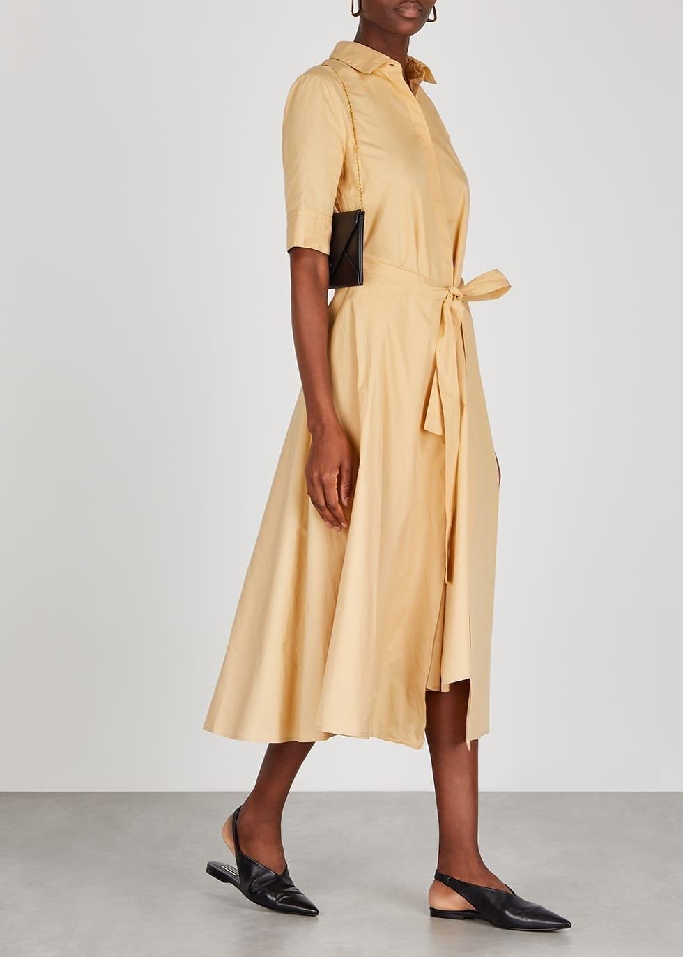 ROSETTA GETTY Camel Poplin Shirt Dress