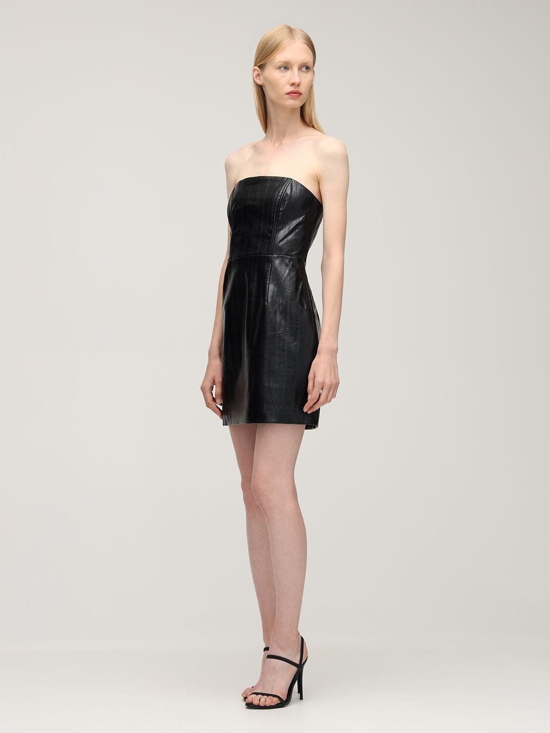 ROTATE Herla Strapless Faux Leather Mini Dress