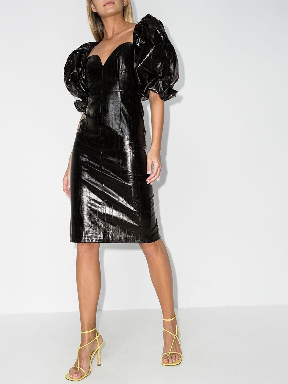 ROTATE Irina Puff-sleeve Midi Dress