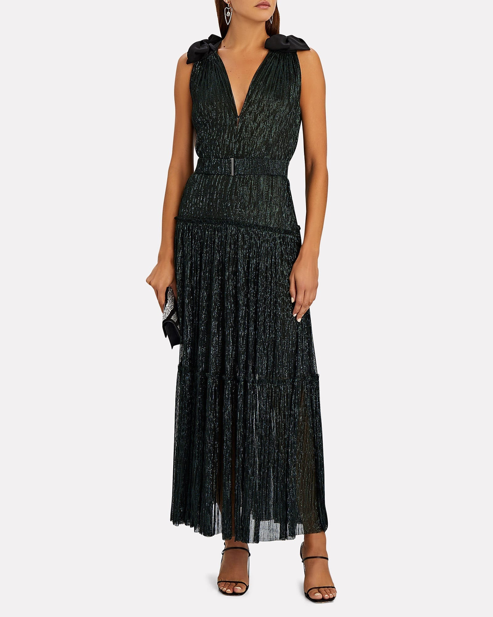 SABINA MUSAYEV Ray Plissé Lurex Maxi Dress