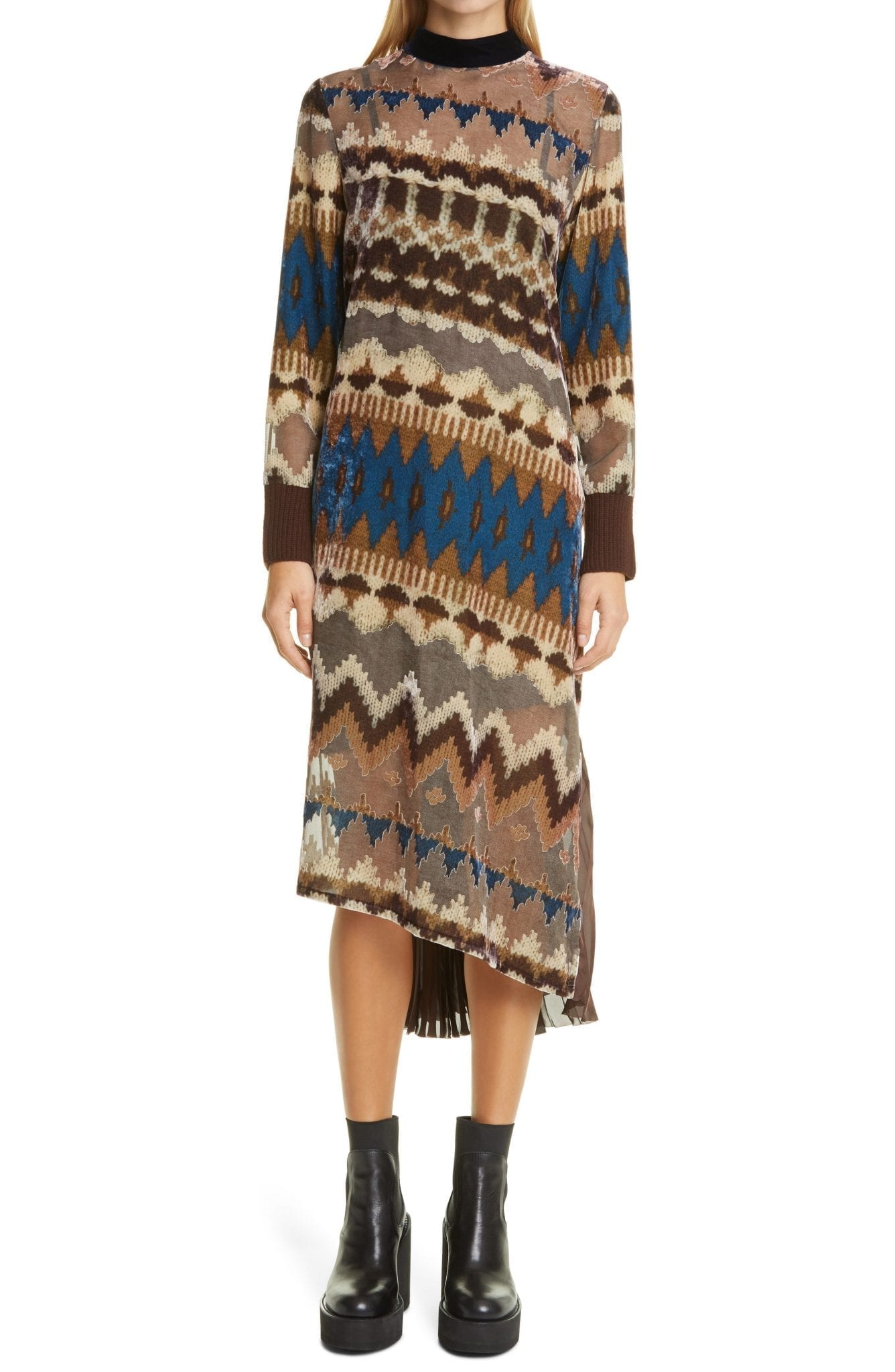 SACAI Nordic Opal Long Sleeve Pleated Dress