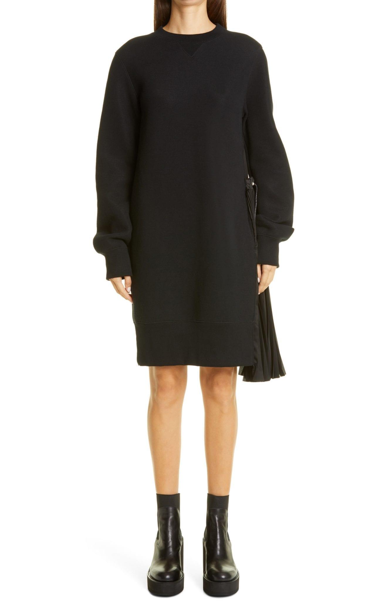 SACAI Pleated Panel Long Sleeve Sponge Sweatshirt Mini Dress