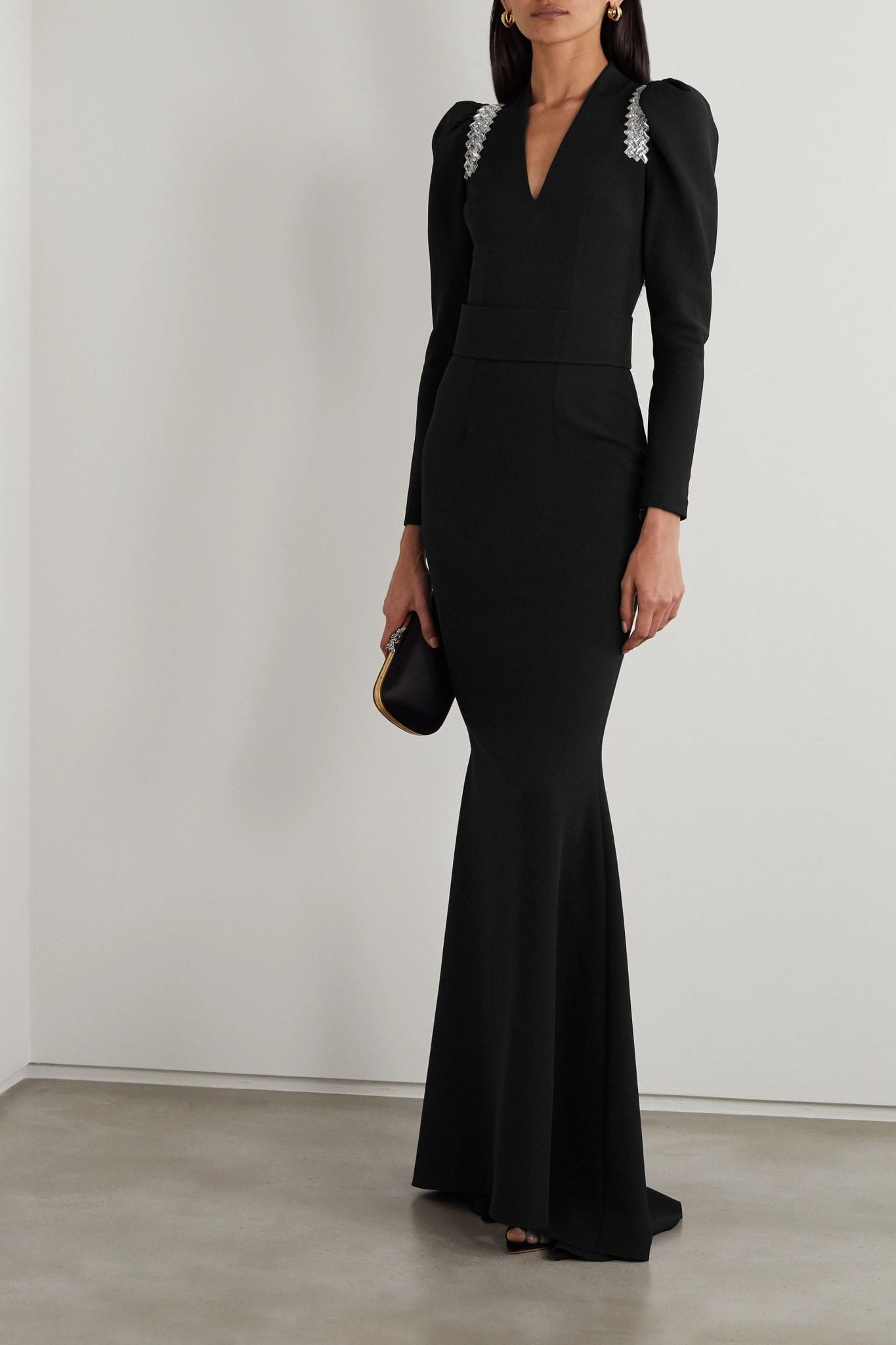 SAFIYAA Tonya Belted Crystal-embellished Crepe Gown