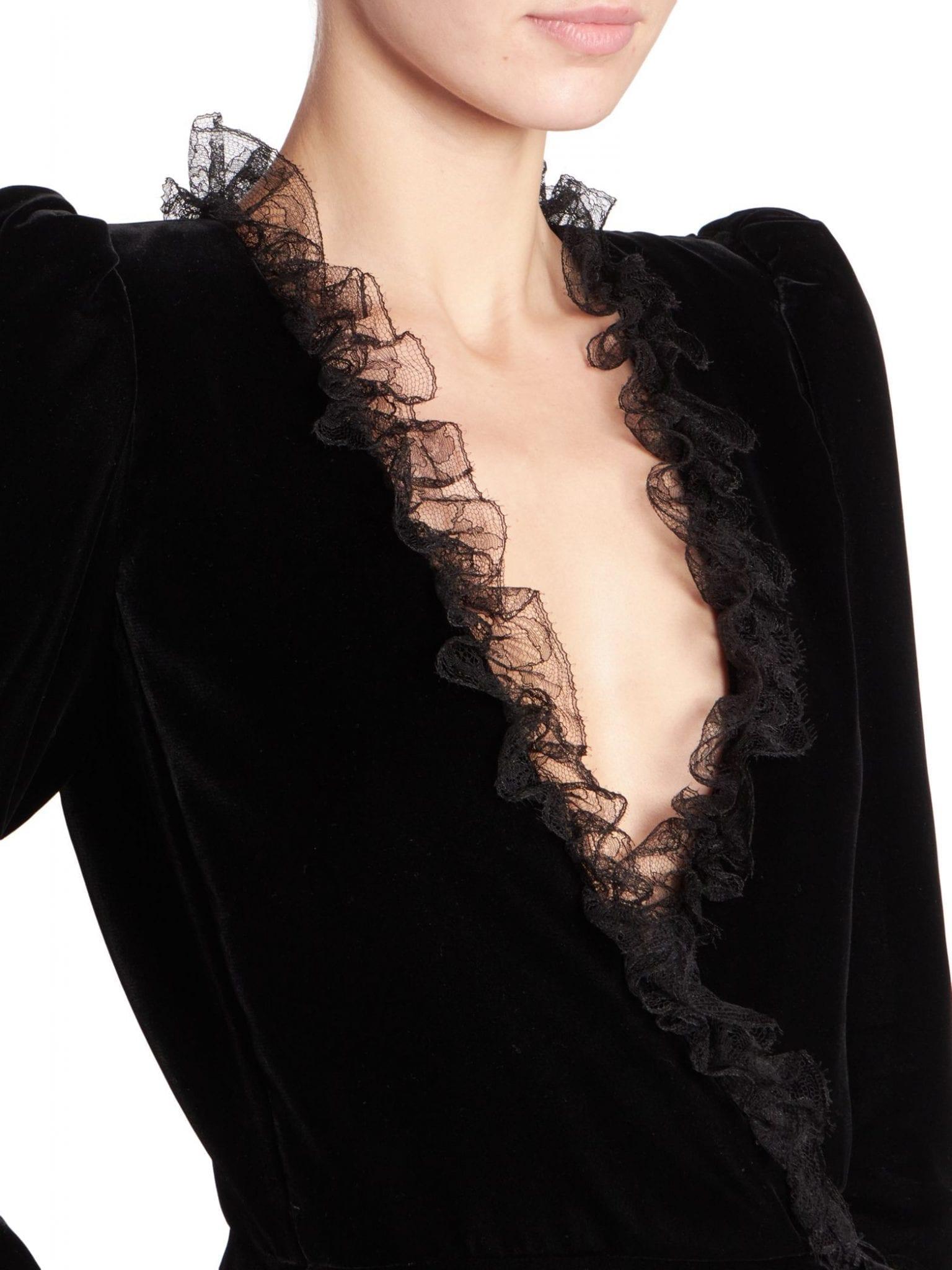 SAINT LAURENT Lace-Trimmed Velvet Wrap Dress