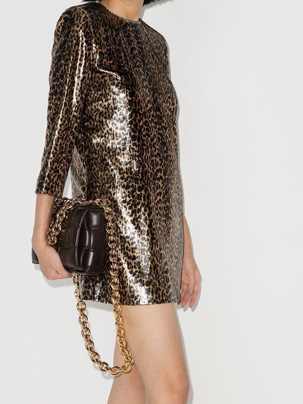 SAINT LAURENT Metallic Leopard-print Mini Dress
