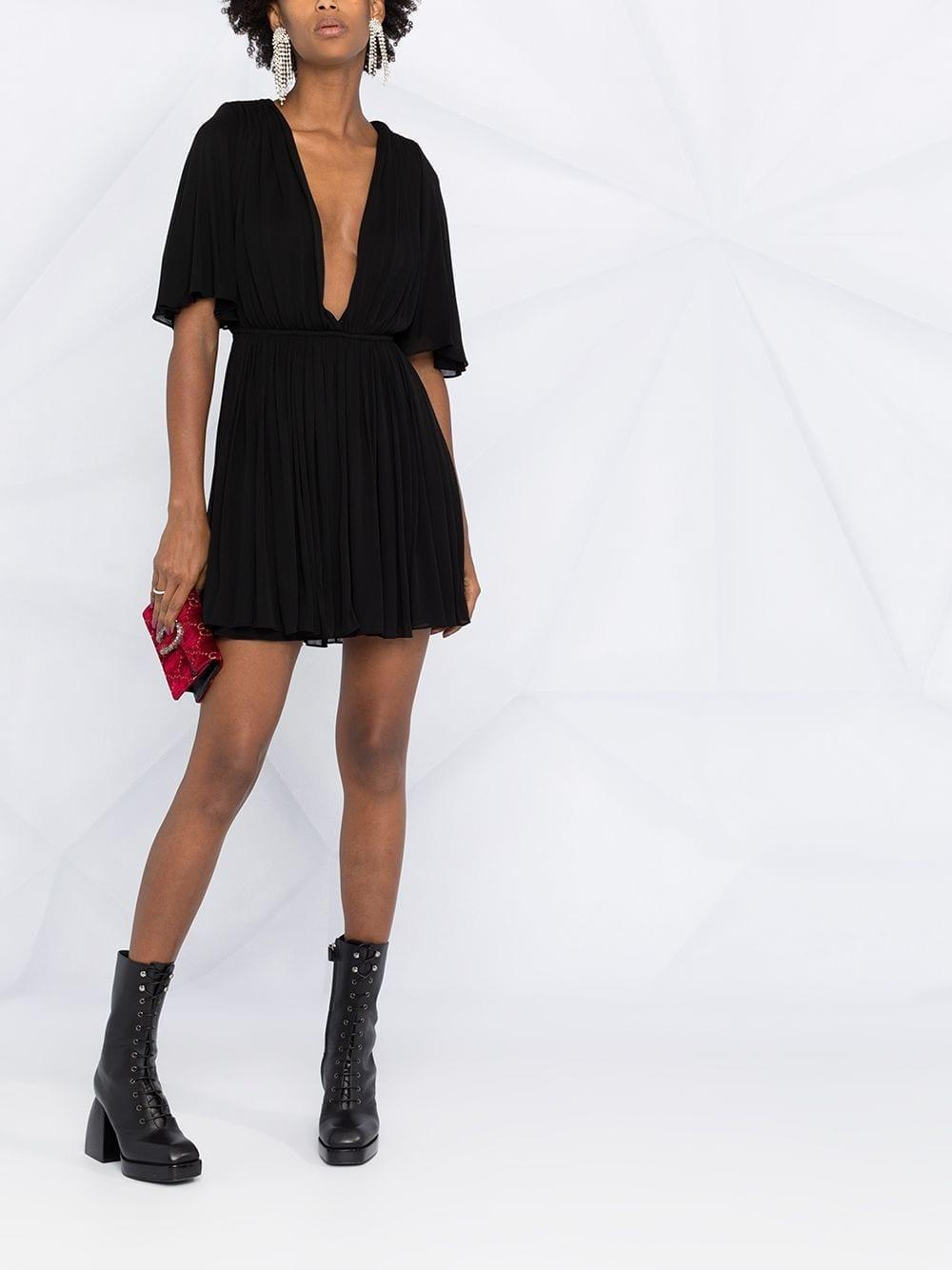 SAINT LAURENT Plunging-neck Flared Dress