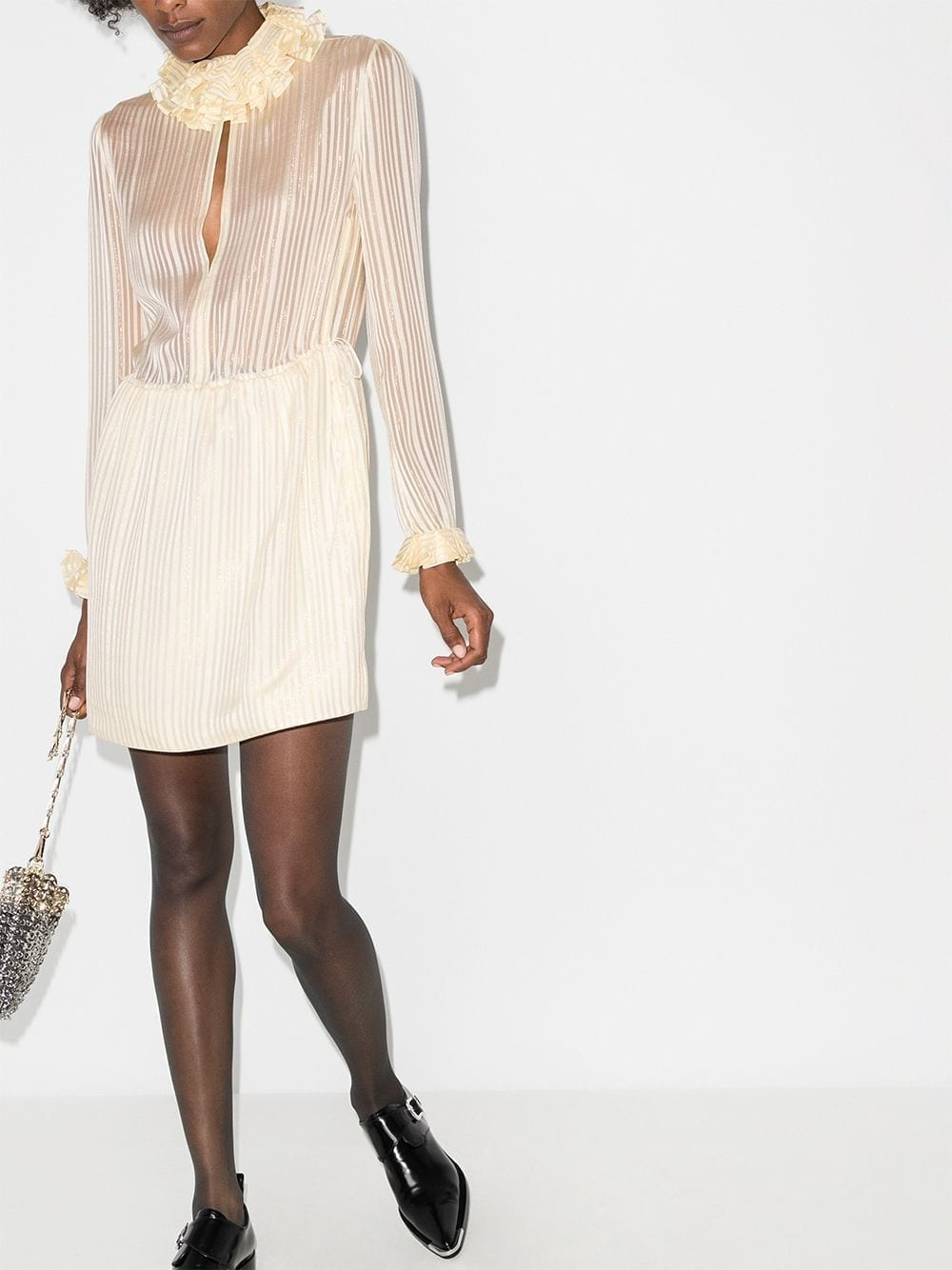 SAINT LAURENT Ruffle Neck Silk Mini Dress