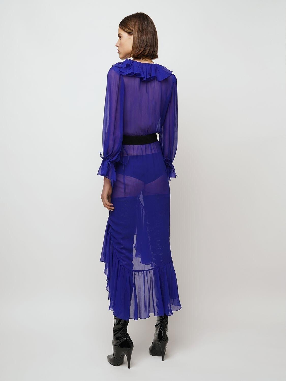 SAINT LAURENT Ruffled Sheer Silk Muslin Midi Dress
