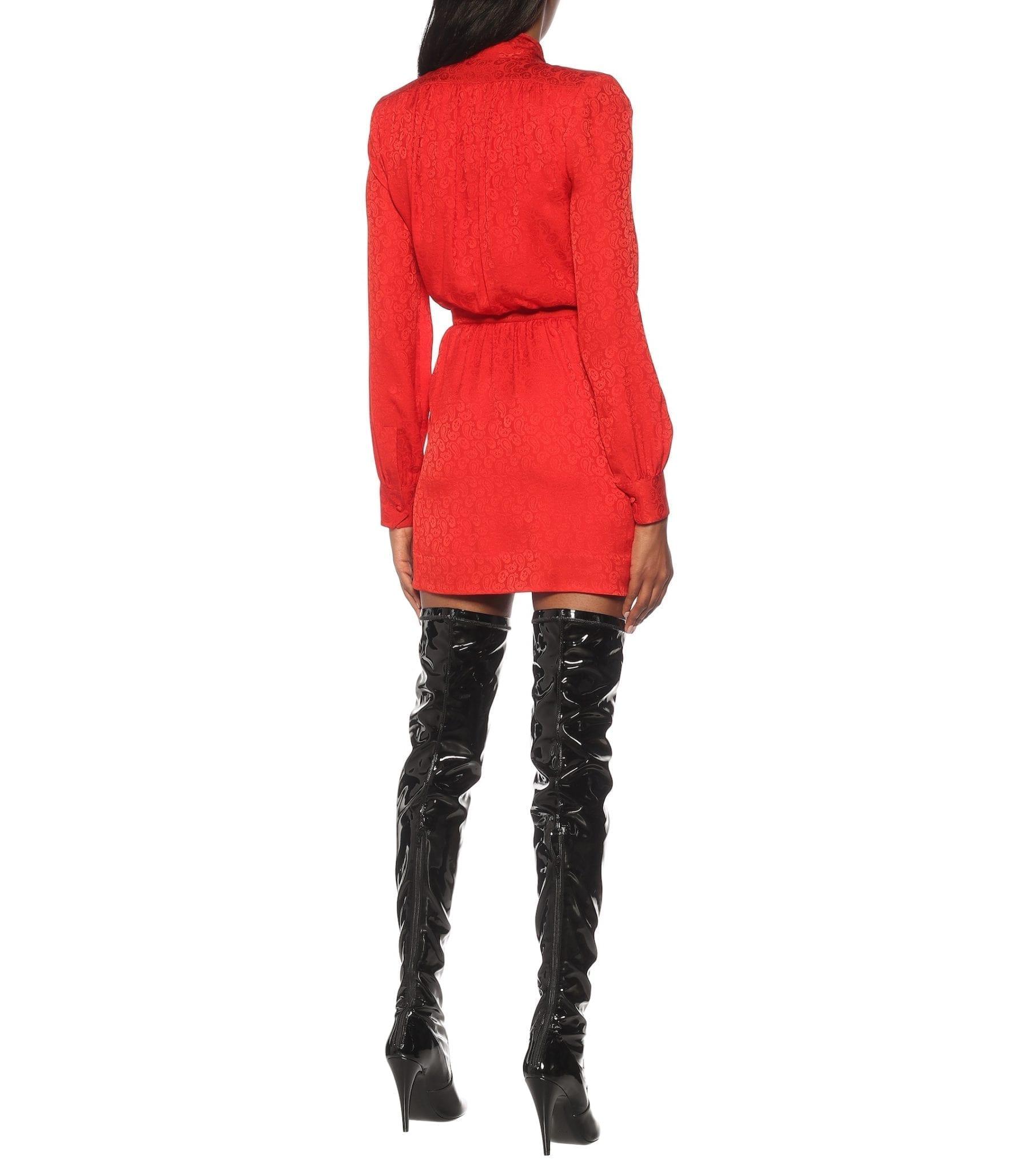 SAINT LAURENT Tie-neck Jacquard Silk Mini Dress