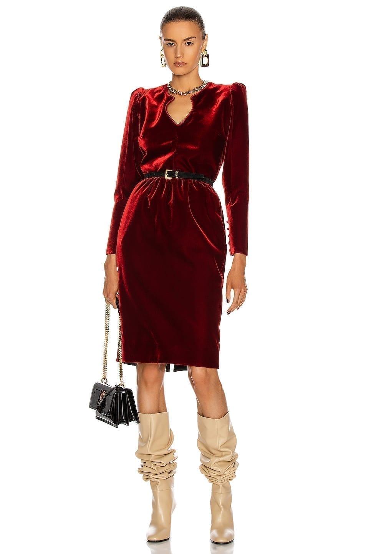 SAINT LAURENT Velvet Long Sleeve Midi Dress