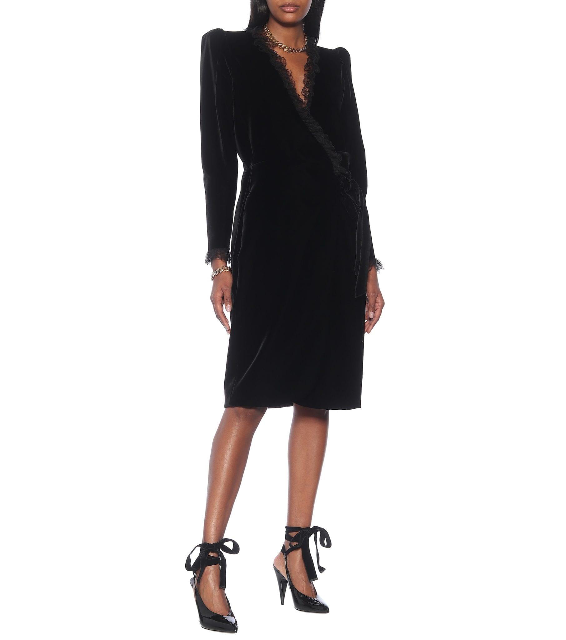 SAINT LAURENT Velvet Midi Dress