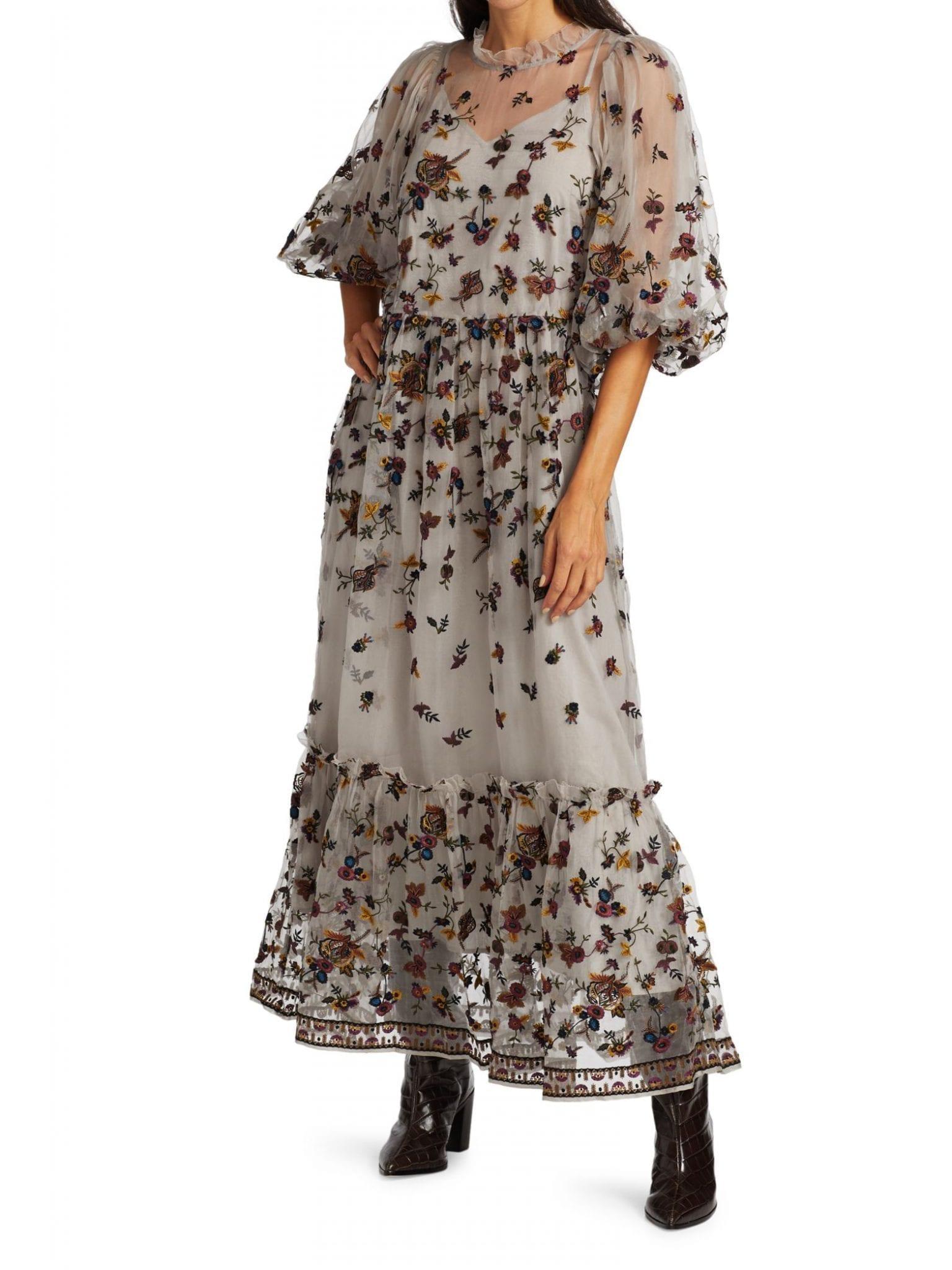 SEA Francesca Puff-Sleeve Embroidered Maxi Dress