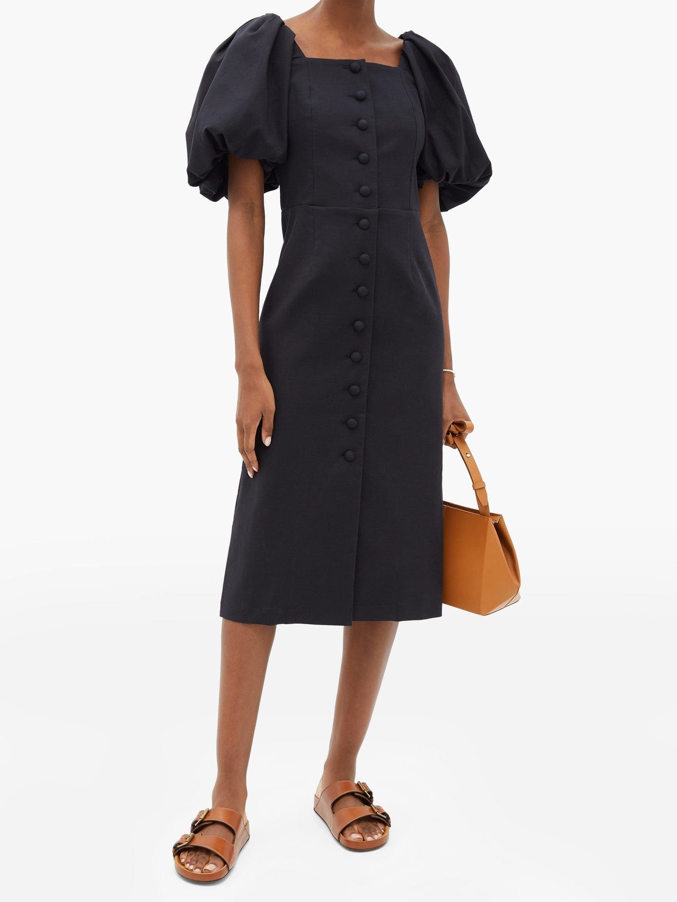 SEA Marianne Puff-sleeve Buttoned Cotton Dress
