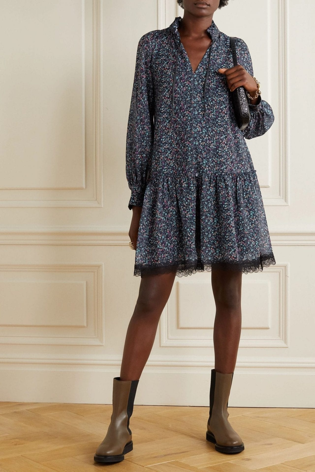 SEE BY CHLOÉ Tie-neck Lace-trimmed Floral-print Georgette Dress