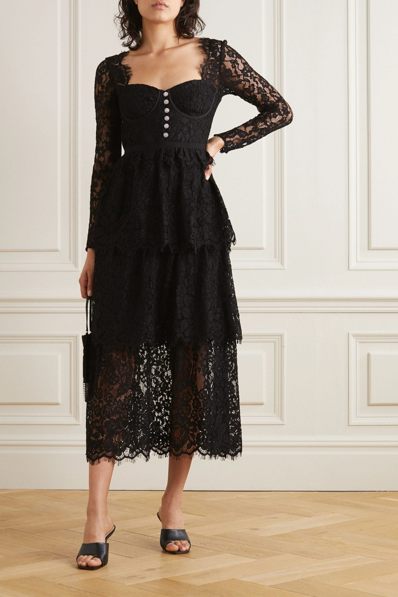 SELF-PORTRAIT Crystal-embellished Tiered Cotton-blend Corded Lace Midi Dress