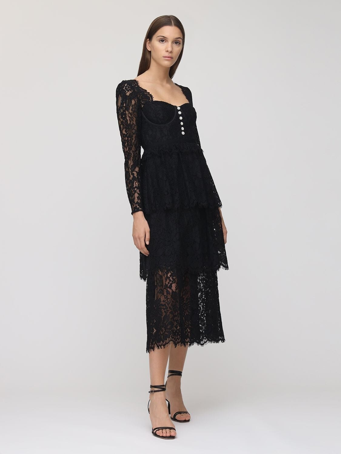 SELF-PORTRAIT Embellished Cotton Blend Lace Midi Dress