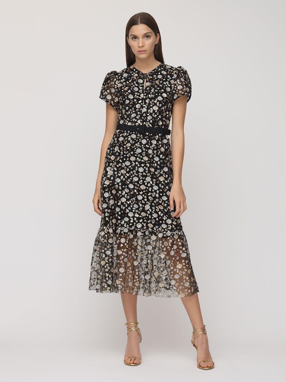 SELF-PORTRAIT Embellished Midi Dress