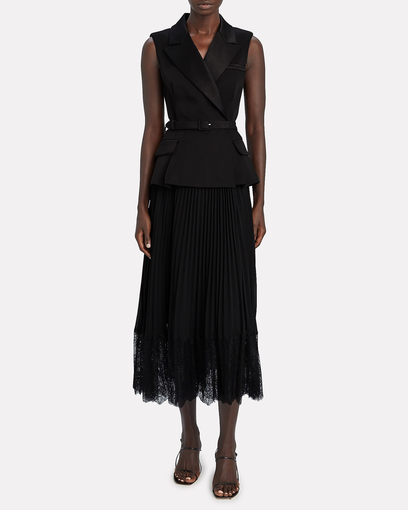 SELF-PORTRAIT Layered Crepe Midi Dress