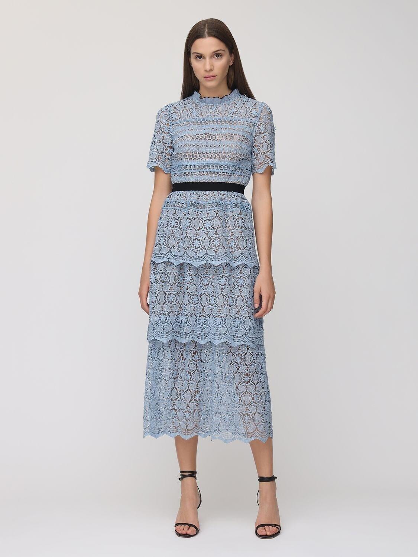 SELF-PORTRAIT Layered Lace Long Dress