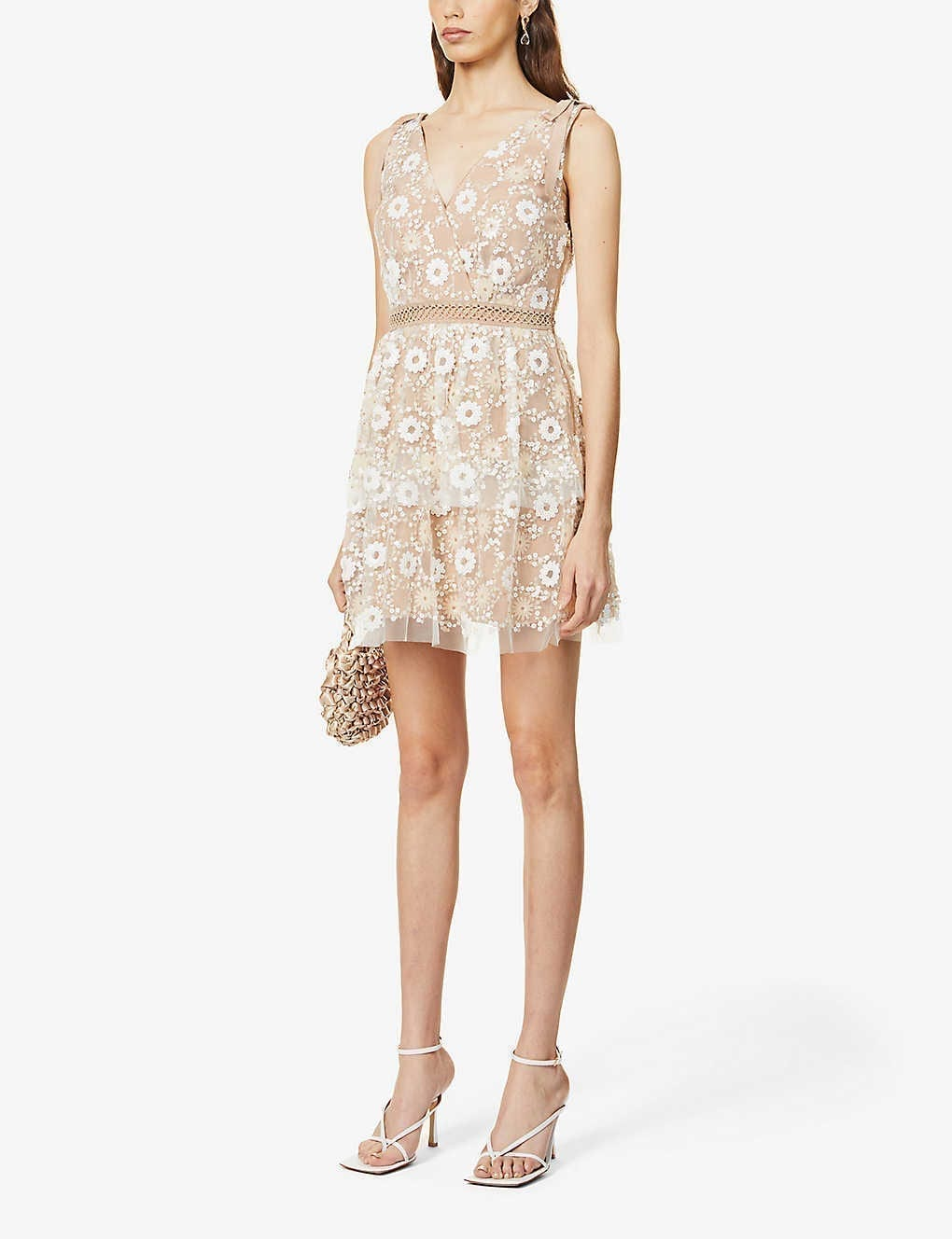 SELF-PORTRAIT Sequin-embellished Mesh Mini Dress