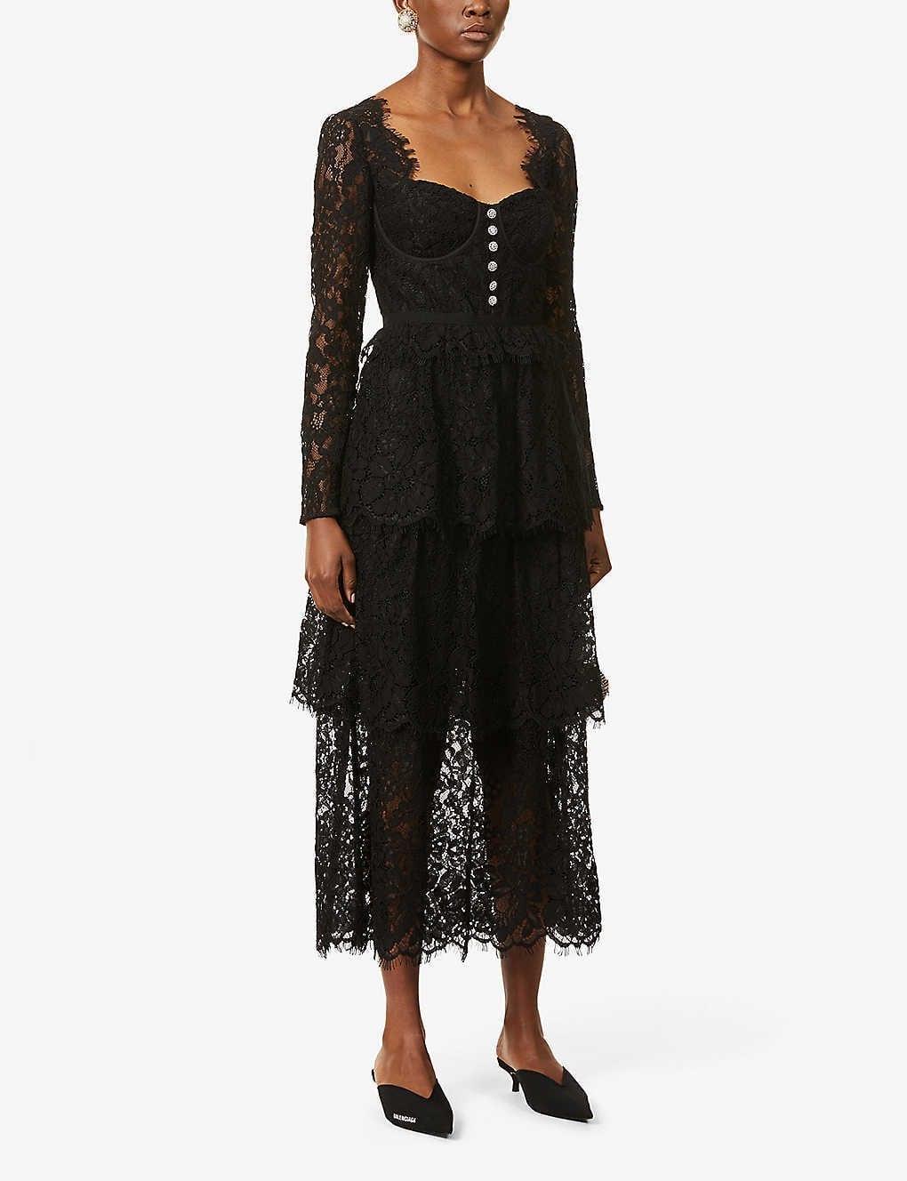 SELF-PORTRAIT Square-neck Floral Lace Midi Dress