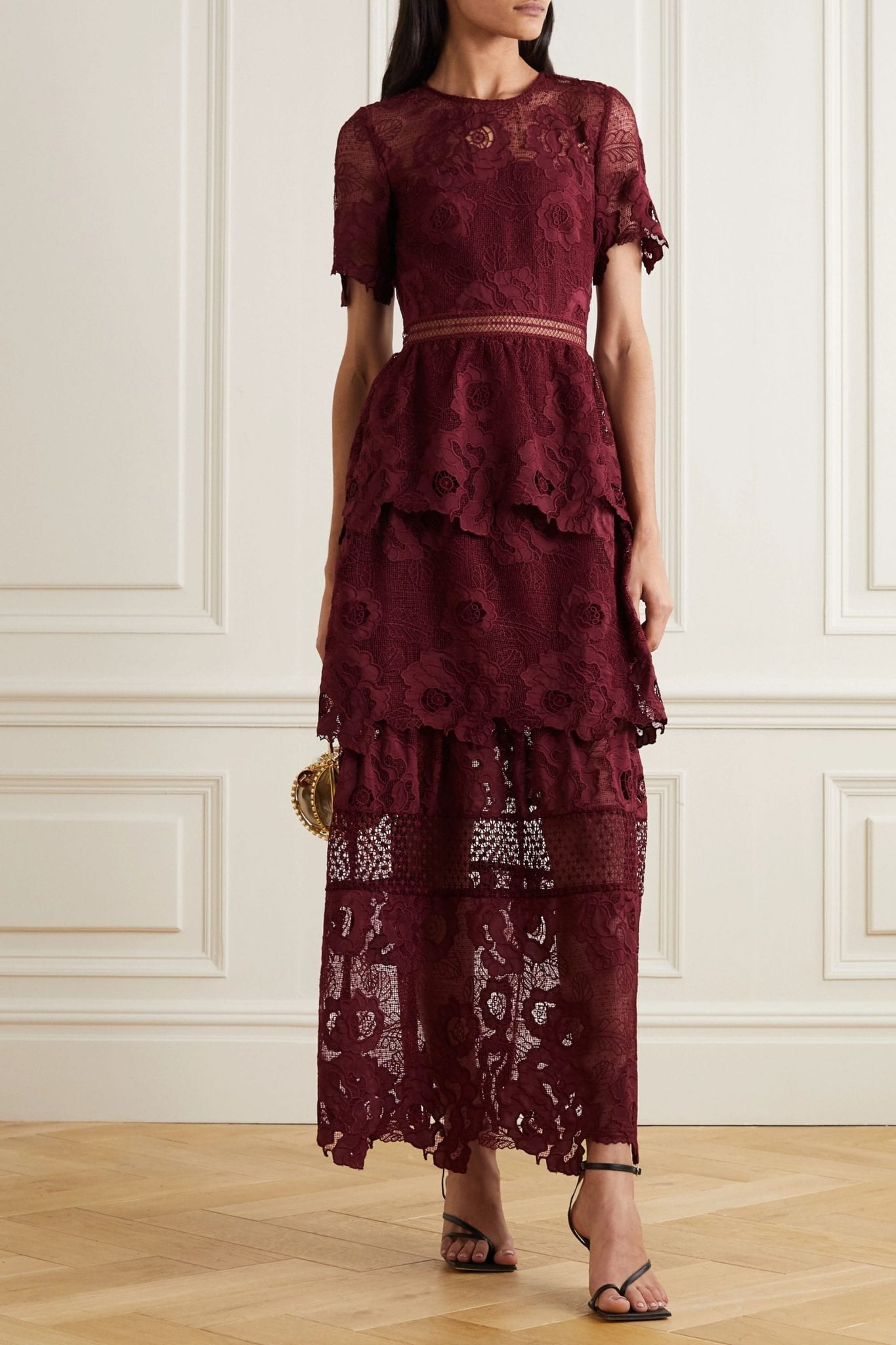 SELF-PORTRAIT Tiered Guipure Lace Maxi Dress