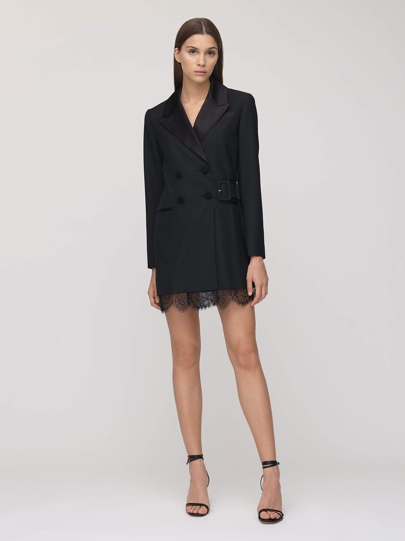 SELF-PORTRAIT Wool Blend Crepe & Lace Blazer Dress