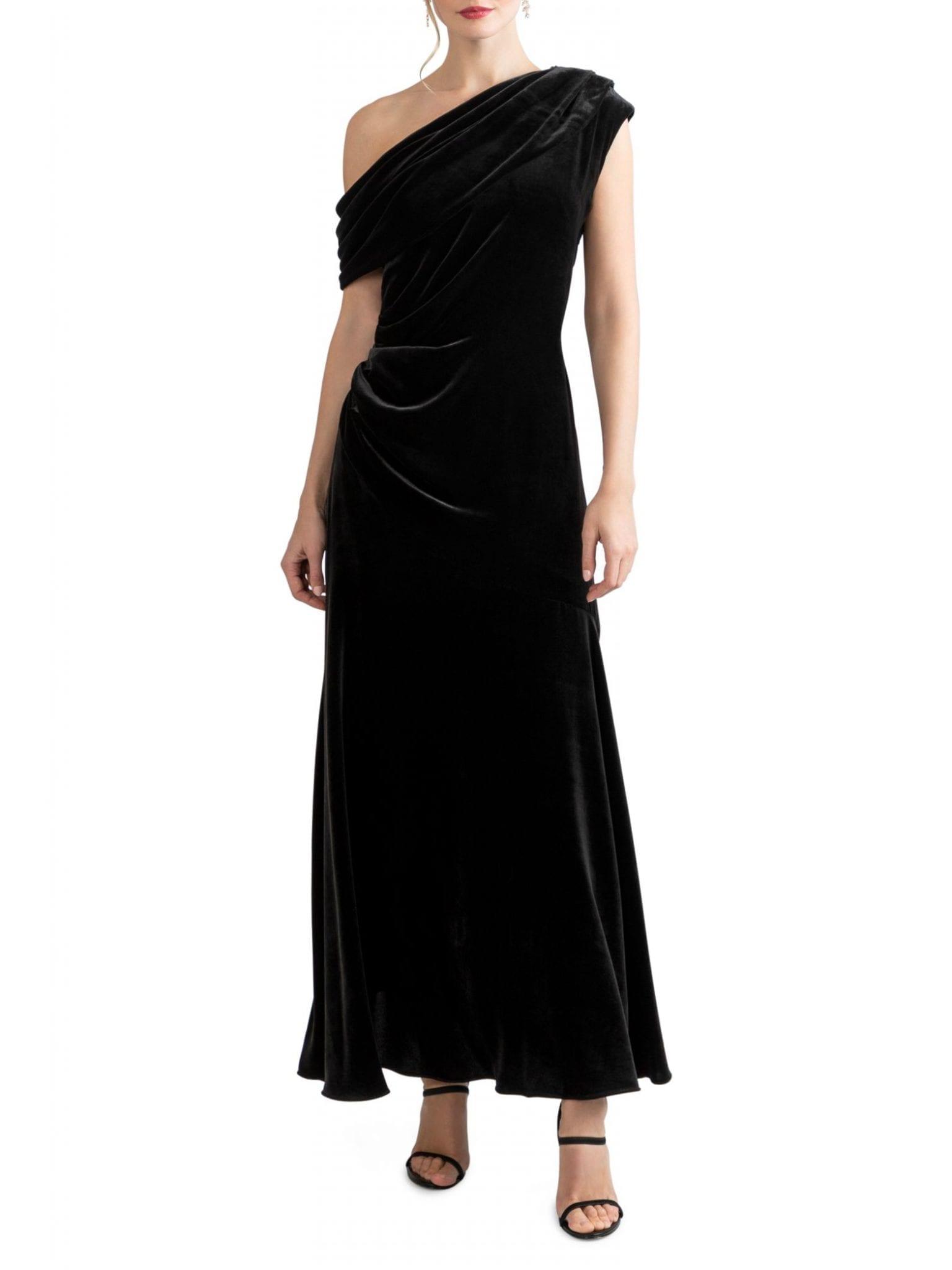 SHOSHANNA Goldie One-Shoulder Velvet Dress