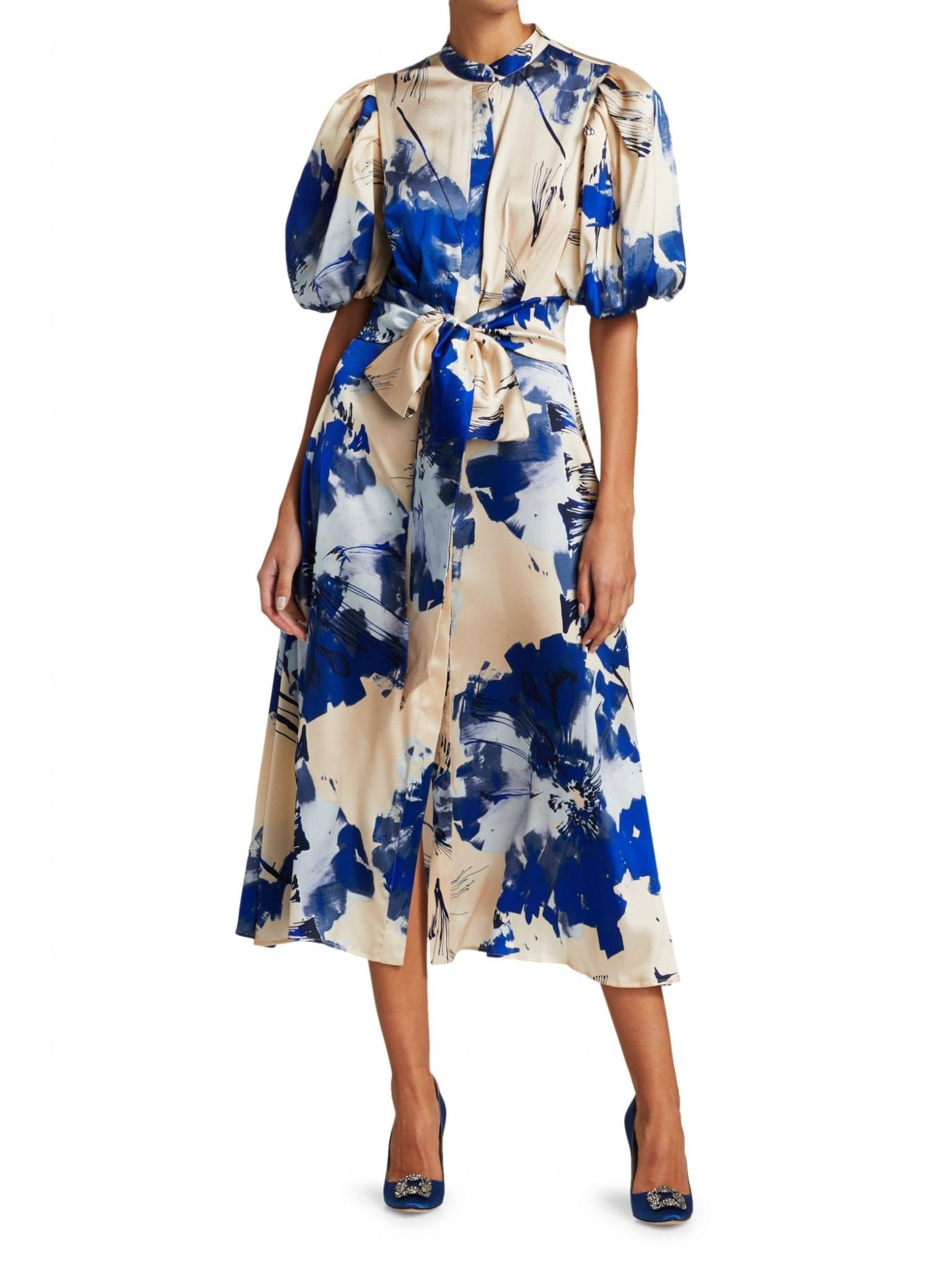 SILVIA TCHERASSI Ophelia Puff Sleeve Midi Dress