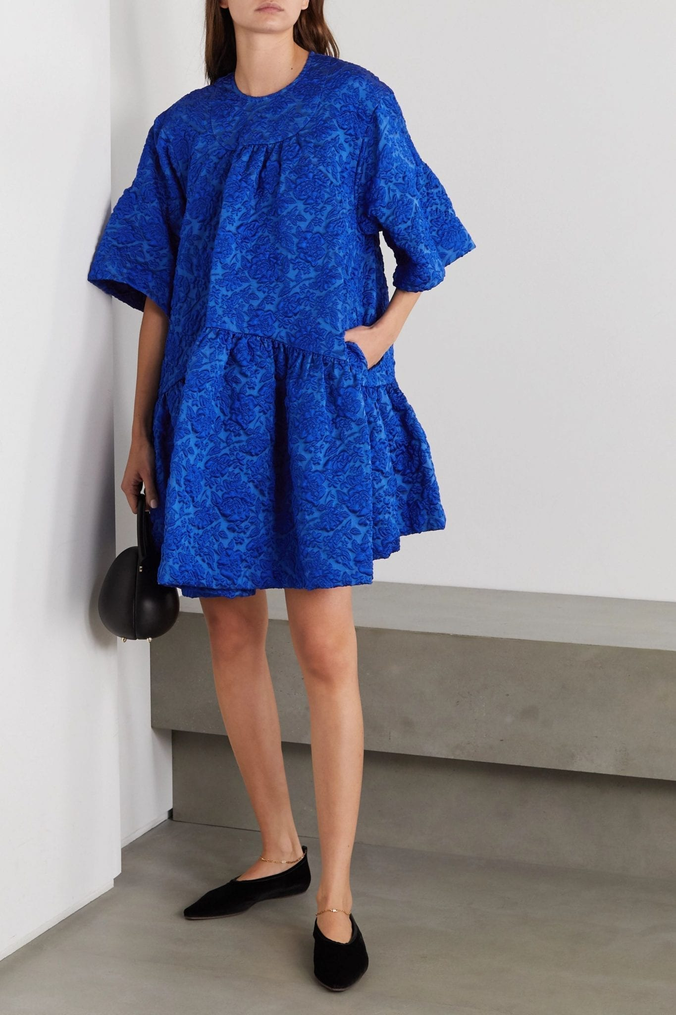 SIMONE ROCHA Oversized Tiered Cloqué Mini Dress
