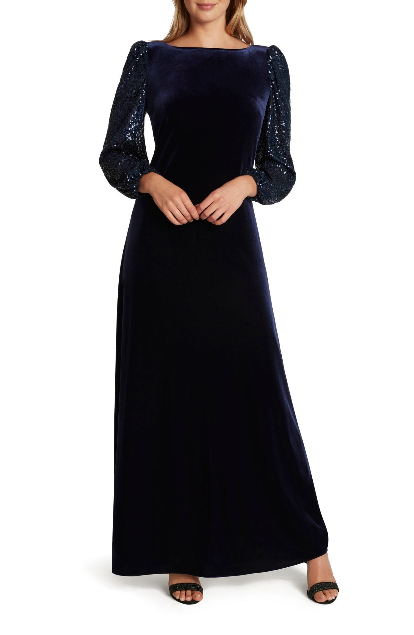 TAHARI Sequin Long Sleeve Velvet Gown