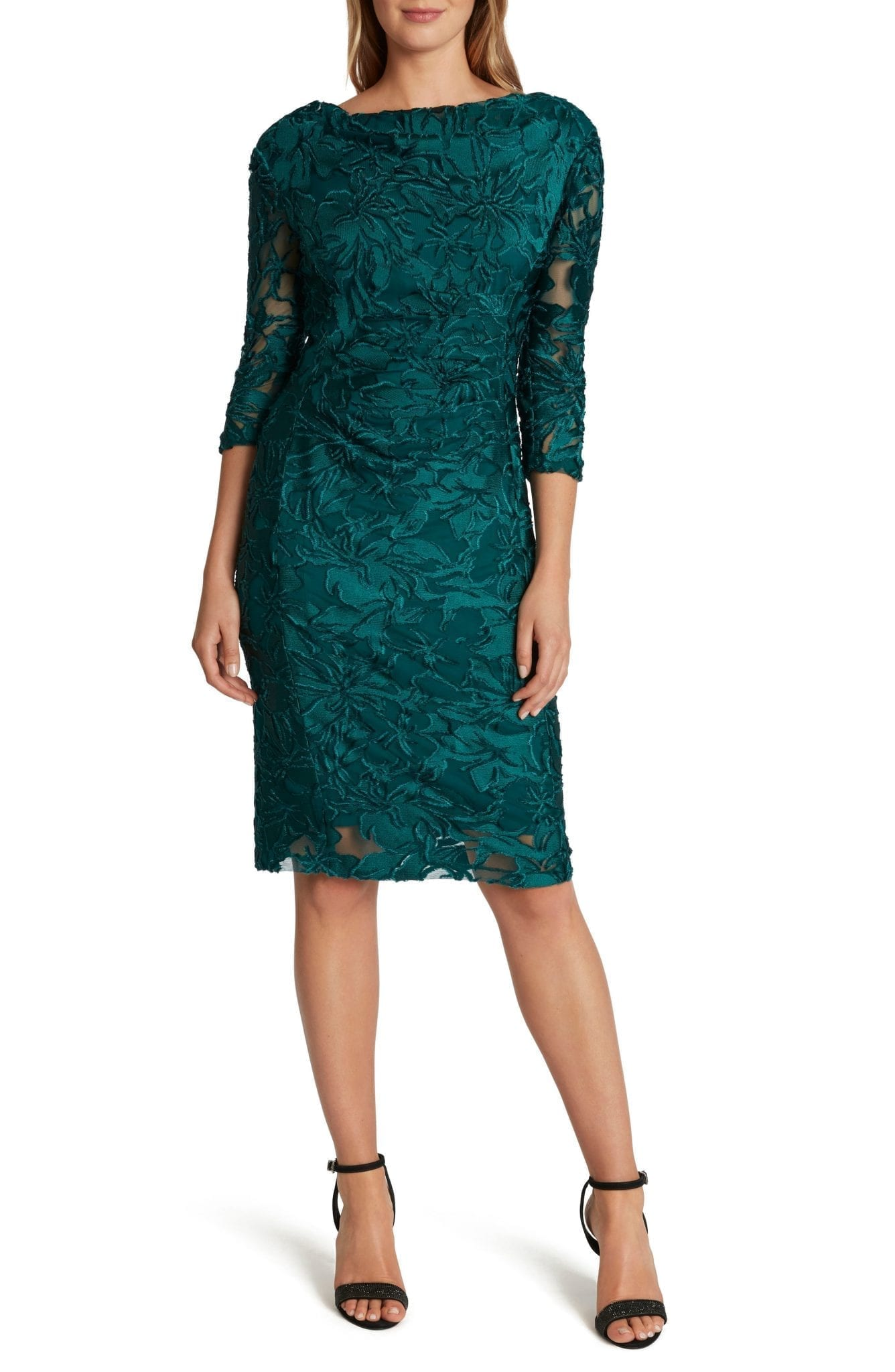 TAHARI Velvet Jacquard Cocktail Sheath Dress