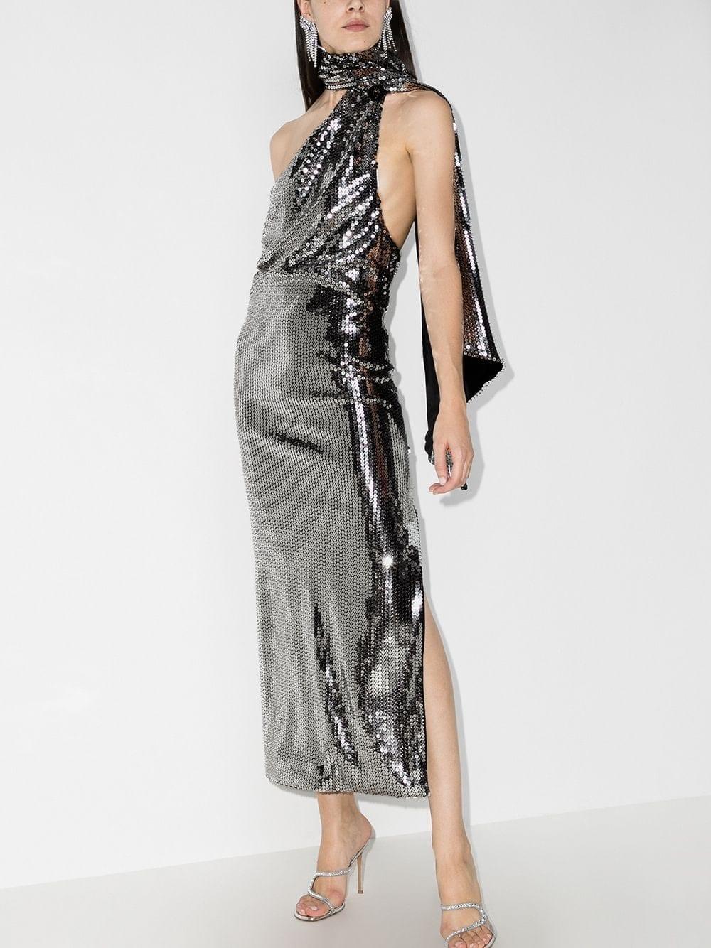 THE ATTICO Sequinned Halterneck Dress